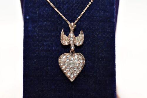 ANTIQUE  9K GOLD NATURAL ROSE CUT DIAMOND HARD BIRD STYLE AMAZING NECKLACE