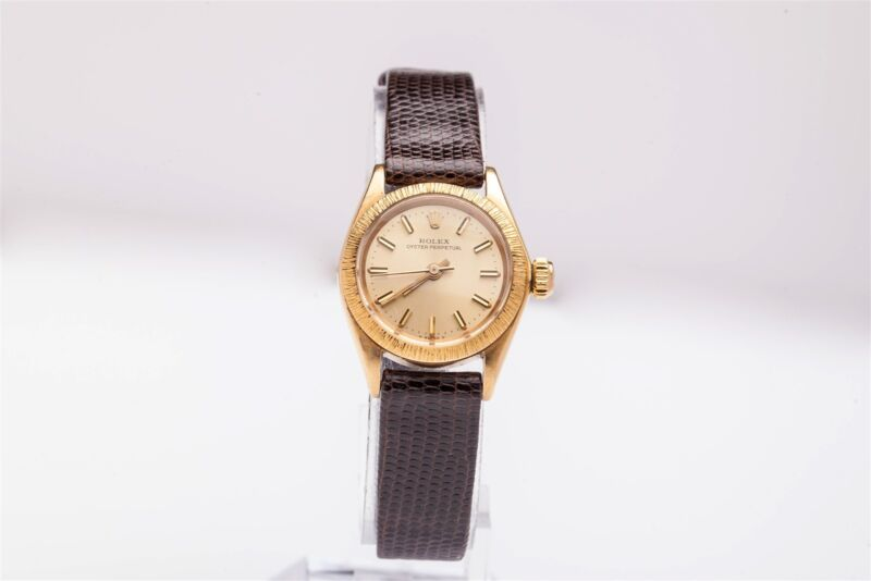 New Rare $20,000 Factory Rolex Oyster Bark Ladies 18k Yellow Gold Dress Watch Pp