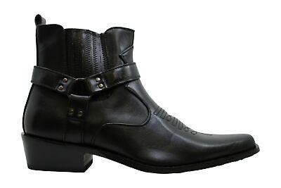W1TCJ Men's Cowboy Boots Western Ankle Harness Strap Leather, Black, Size 10.5