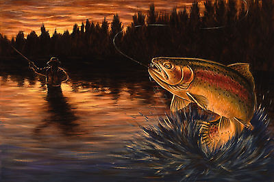 Fly Fishing Trout Prints - FLY FISHING Painting Rainbow Trout Artwork Stretched Canvas Print