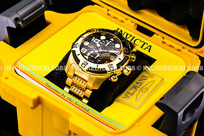 Invicta Men Bolt Chronograph Black Dial 18K Gold Bracelet Watch w 1 Slot Box