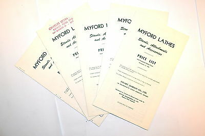 5 Pc Myford Lathe Stands Attachments 1963 1964 Price Lsit Group Rr504