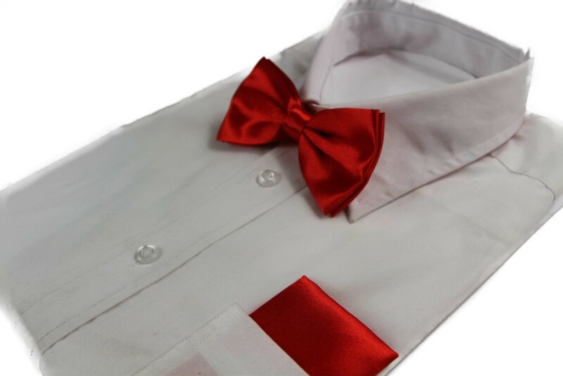 Mens Red Plain Bow Tie & Matching Pocket Square Set