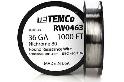 Temco Nichrome 80 Series Wire 36 Gauge 1000 Ft Resistance Awg Ga