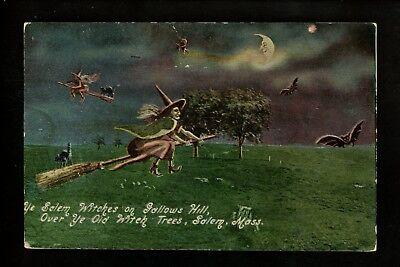 Halloween postcard UNLISTED Unknown Like UN38 Salem Witch Broom Massachusetts MA