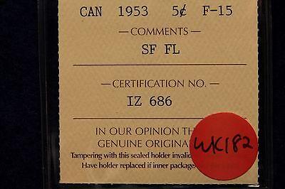 1953 SF FL CANADA NICKEL 5 CENT ICCS F 15 SHOULDER FOLD  FAR LEAF MULE BV $350