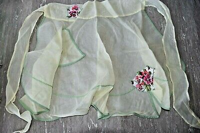 Vintage Aprons, Retro Aprons, Old Fashioned Aprons & Patterns Vintage Sheer Yellow with Flower Floral Apron Retro Kitchen Decor with Pocket $14.99 AT vintagedancer.com