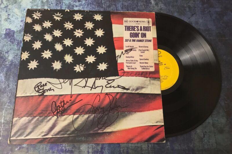 GFA Rare Band x6 * SLY AND THE FAMILY STONE * Signed Vinyl Record Album AD8 COA