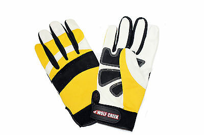 Wolf Creek Reinforced Leather Padded Protective Chainsaw Gloves - Medium Size 9