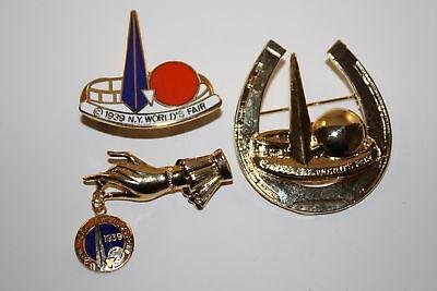 Lot of 3 Pins 1939 NEW YORK WORLD'S FAIR Trylon Perisphere Metal Brooch Lapel