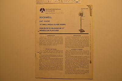 J138 Vintage Delta Rockwell Cat. 15-630 15 Drill Press Floor Model Manual