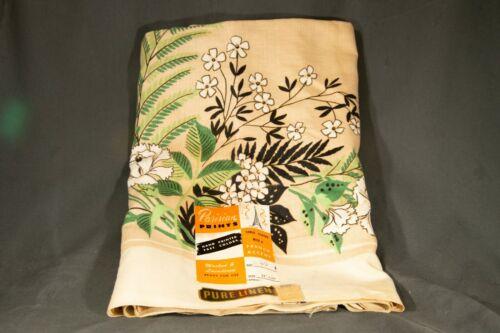 "Vintage Mid Century Parisian Linen Hand Printed Table Cloth W Tag! 52"" x 52"""