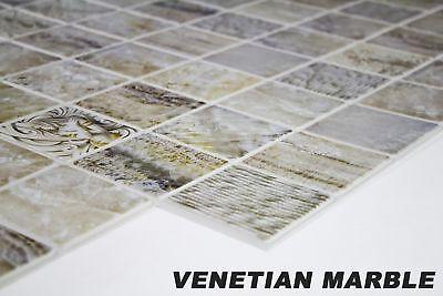 1 Plato de Decoración Mosaico Revestimiento Placas PVC Pared 95x48cm Veneciano
