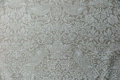 """WILLIAM MORRIS CURTAIN FABRIC /""""Pure Strawberry Thief/"""" 2 METRES SAGE LINEN BLEND"""