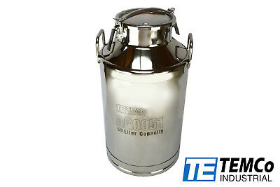Temco 50 Liter 13.25 Gallon Stainless Steel Milk Can Wine Pail Bucket Tote Jug