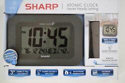 NEW SHARP Atomic Clock Wireless Outdoor sensor LCD Display Desk Wall IN BLACK