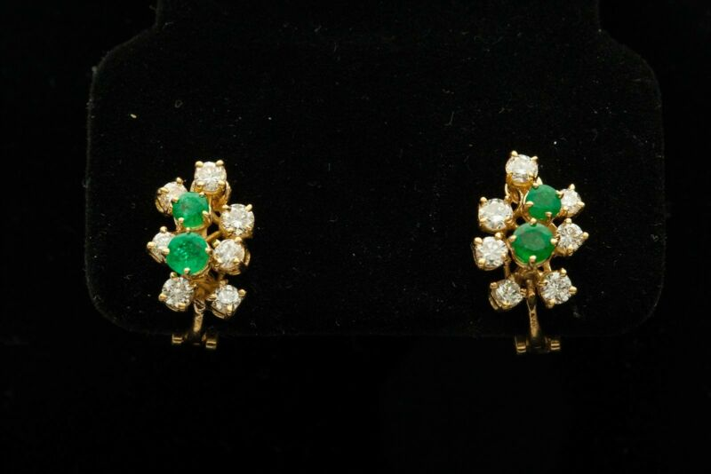 Signed Tiffany & Co $7000 2ct Colombian Emerald Diamond 18k Gold Earrings