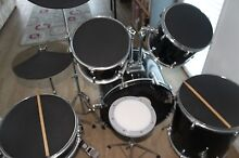 DXP Junior 7 piece Black Drum Kit with practice pads and sticks Noosa Heads Noosa Area Preview