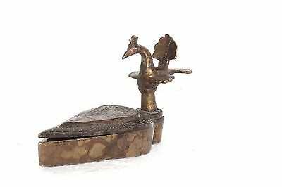 Tikka Box Brass Peacock Head 1900 Vintage Antique Decorative Collectible L-42