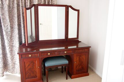 Mahogany dressing table, 2x bedside drawers and headboard Greenwich Lane Cove Area Preview