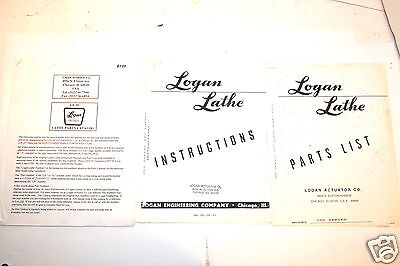 Logan Lathe Parts Catalogs 200 Ser. 10 Lathe Instructions Rr555 Photocopy