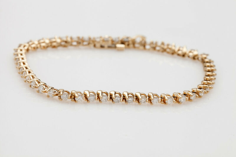 Estate $9000 5ct Diamond 14k Yellow Gold Tennis Bracelet