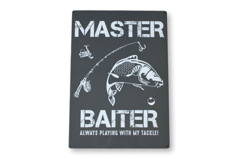 Large+Master+Baiter+Fishing+Gift+Metal+Wall+Hanging+Sign