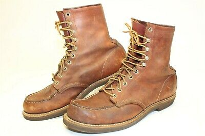 Red Wing Shoes USA Made Mens 11 C Vintage Leather Moc Toe Lace Up Work Boots