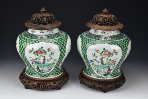 Pair Chinese Famille Verte Porcelain Covered Jars with Stands 19th Century
