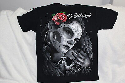 WOMAN WITH PAINTED FACE DAY OF THE DEAD SKULL ENDLESS LOVE ROSE