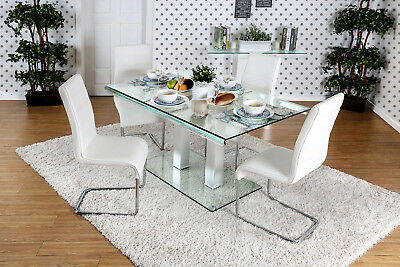 Furniture Of America CM3362T Microscope spectacles Top And Base Dining Table With Dual Post Leg