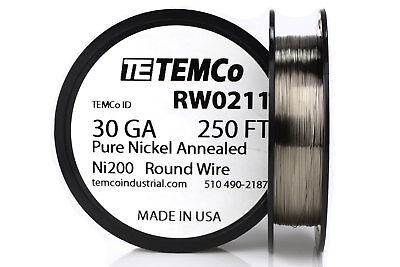 Temco Pure Nickel Wire 30 Gauge 250 Ft Non Resistance Awg Ni200 Nickel 200ga