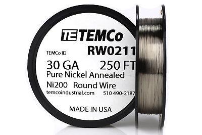 Temco Pure Nickel Wire 30 Gauge 250 Ft Non Resistance Awg Ni200 Nickel 200ga