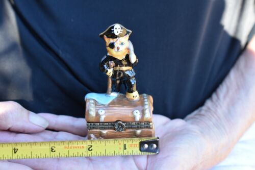 Hinged Lid Trinket/Pill BoxTabby Cat Topper 1 kitten Pirate