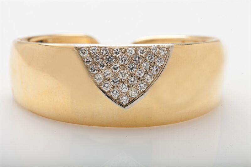 Designer $12,000 2.50ct Ideal Cut Vs G Diamond 18k Gold Bangle Bracelet