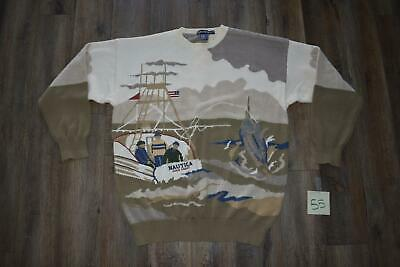 VINTAGE NAUTICA MENS XL SWEATER - GOLD COAST FISHING BOAT MARLIN SWORD FISH