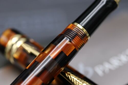 Parker Duofold Check Amber Rollerball Pen 2