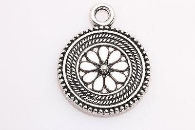 Lots 5 PCS Tibetan Silver Crafts round flowers Charms Pendants 23mm*17mm ZA10