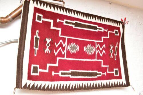 ANTIQUE Navajo Rug native american indian weaving VTG 45x30 LARGE STORM PAT RED