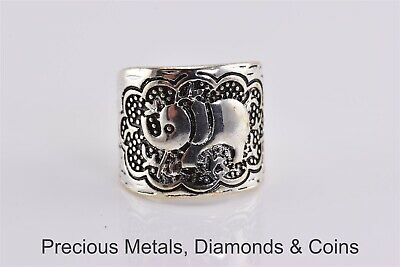 Beaded Carved Elephant 16.7mm Tapered Cigar Band Ring Sz: 5 Elephant Tapered Ring