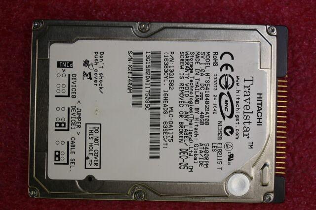 "Hitachi 40GB Internal Hard Drive (2.5"") HTS541640J9SA00"