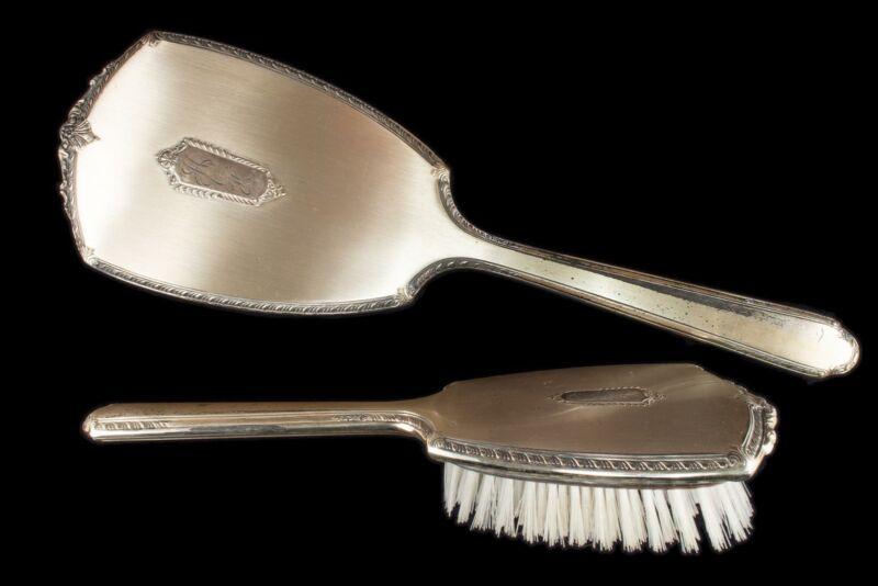 Antique S & B Saart Bros Sterling Silver Vanity Brush & Mirror