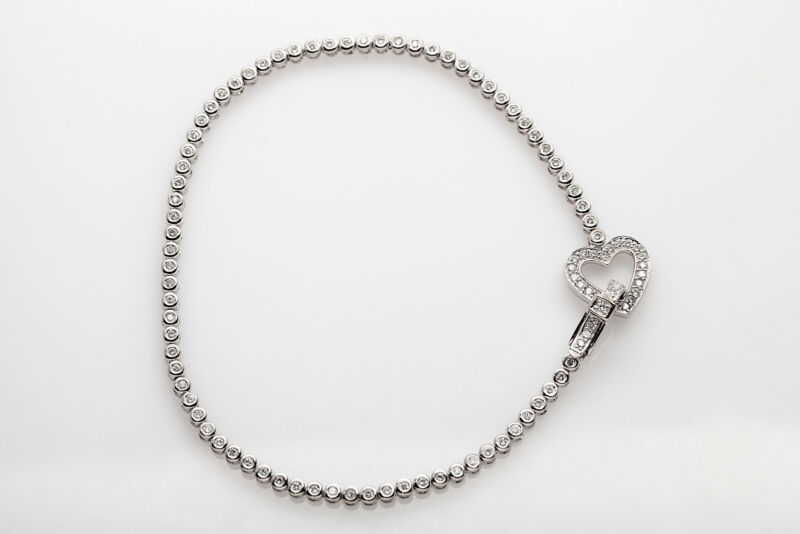 """$7000 Signed Dd 3ct Diamond 14k White Gold Heart Tennis Bracelet 8.75"""" Long"""