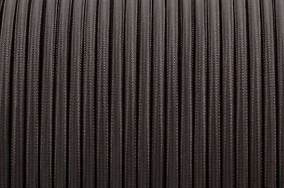 Black Round Silk Braided Vintage Fabric Coloured Lighting Cable 2 core 0.75mm