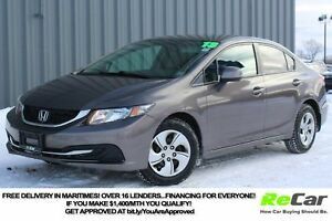 2013 Honda Civic LX HEATED SEATS | ONLY $57/WK TAX INC. $0 DOWN!