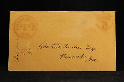 New Hampshire: Francistown 1855 Stampless Cover, Red Circled PAID 3, DPO