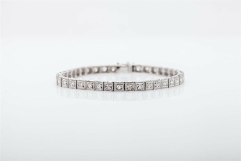 Antique 1950s $12,000 5ct Vs G Diamond Platinum Box Link Tennis Bracelet 13g