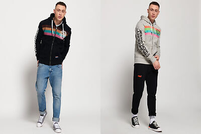 Superdry Mens Ticket Type Stripe Zip Hoodie