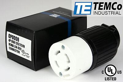 TEMCo NEMA L14-30 Female Plug 30A 125/250V Locking UL Listed for Generator
