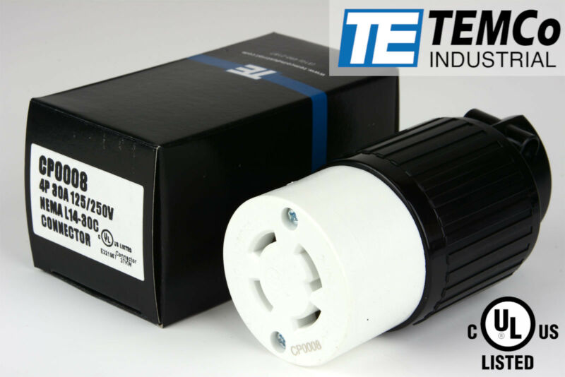 TEMCo NEMA L14-30 Female Plug 30A 125/250V Locking UL Listed for Generator